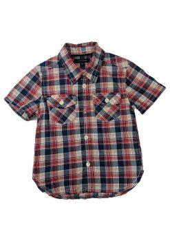 Chemise manches courtes carreaux rayés rouge et bleu