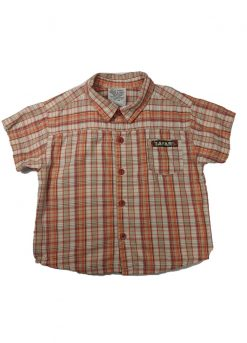 Chemise manches courtes carreaux oranges
