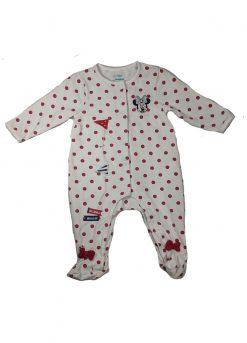 Pyjama manches longues blanc à pois rouge