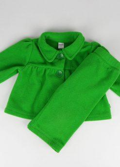 Ensemble veste et pantalon vert en polaire
