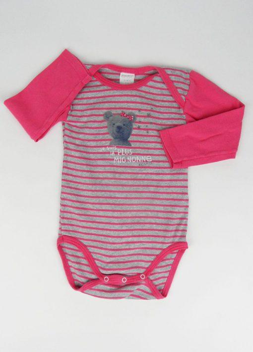 Cache couche rose et gris avec dessin ours