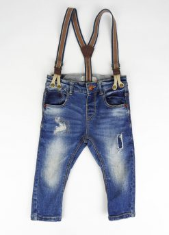 Pantalon jean avec bretelles intégrées image 1
