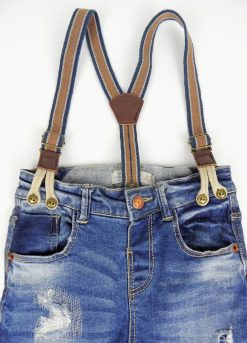 Pantalon jean avec bretelles intégrées image 2