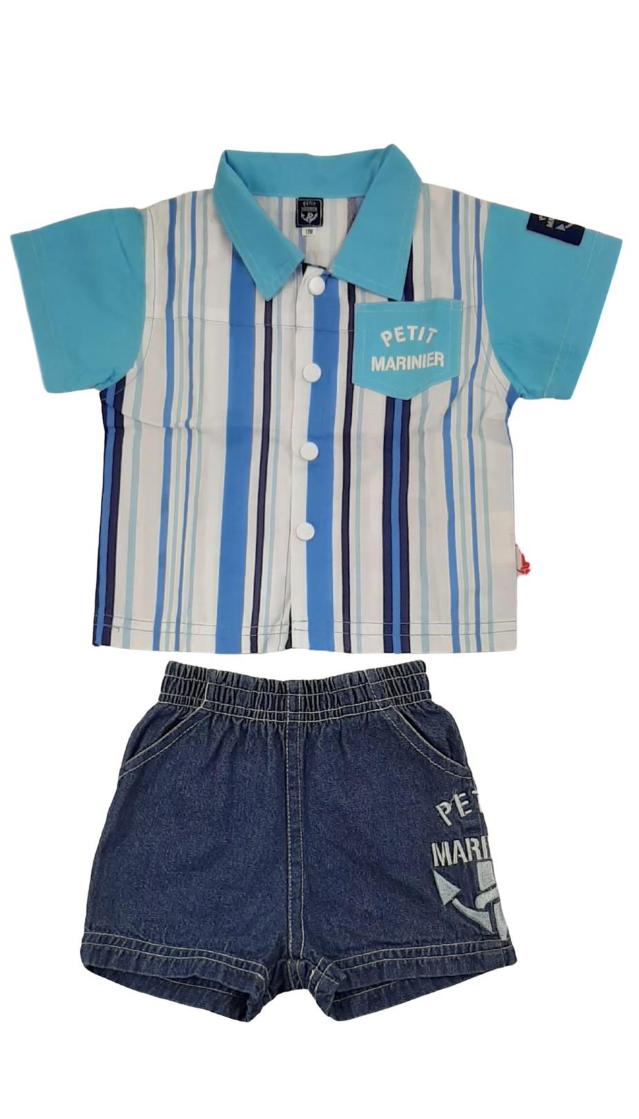 Ensemble 2 pièces : chemise et short en jean assortis 1